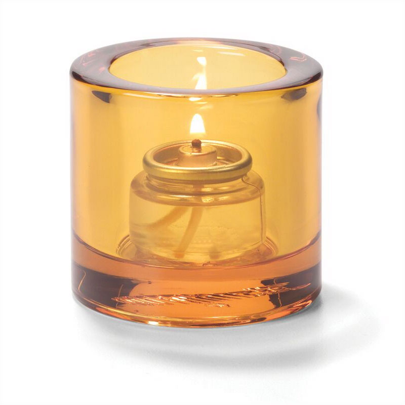 Hollowick 5140A Tealight Glass Lamp, Amber, Thick Glass, 2-7/8 in H x 2-3/4 in dia.
