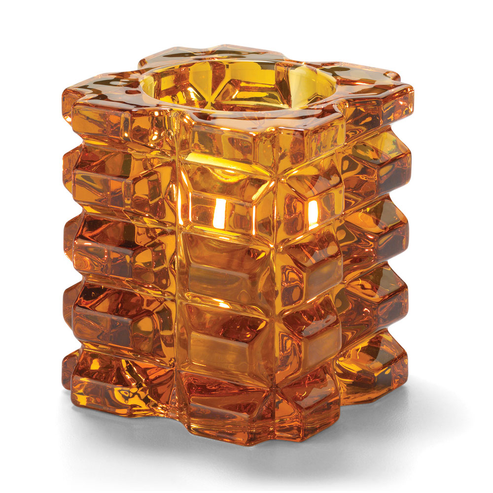 """Hollowick 5151A Faceted Votive Holder for HD8 & HD15 - 3"""" x 3.25"""", Amber"""