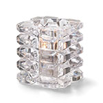 "Hollowick 5151C 3"" Round Votive Lamp - Cube Style, Faceted, Glass, Clear"