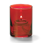 Hollowick 5176R Tealight Lamp w/ Cylinder Style, 2.5x2-in, Glass, Ruby Lustre