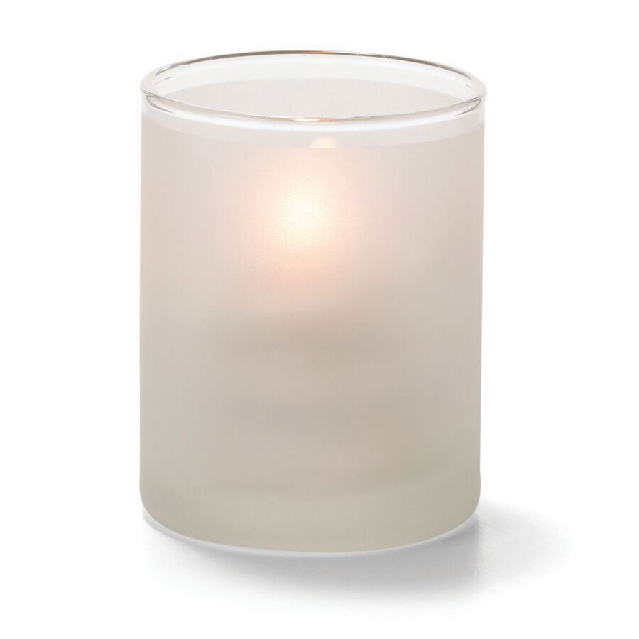 "Hollowick 5176SC Tealight Lamp w/ Cylinder Style, 2.5x2"", Glass, Satin Crystal"