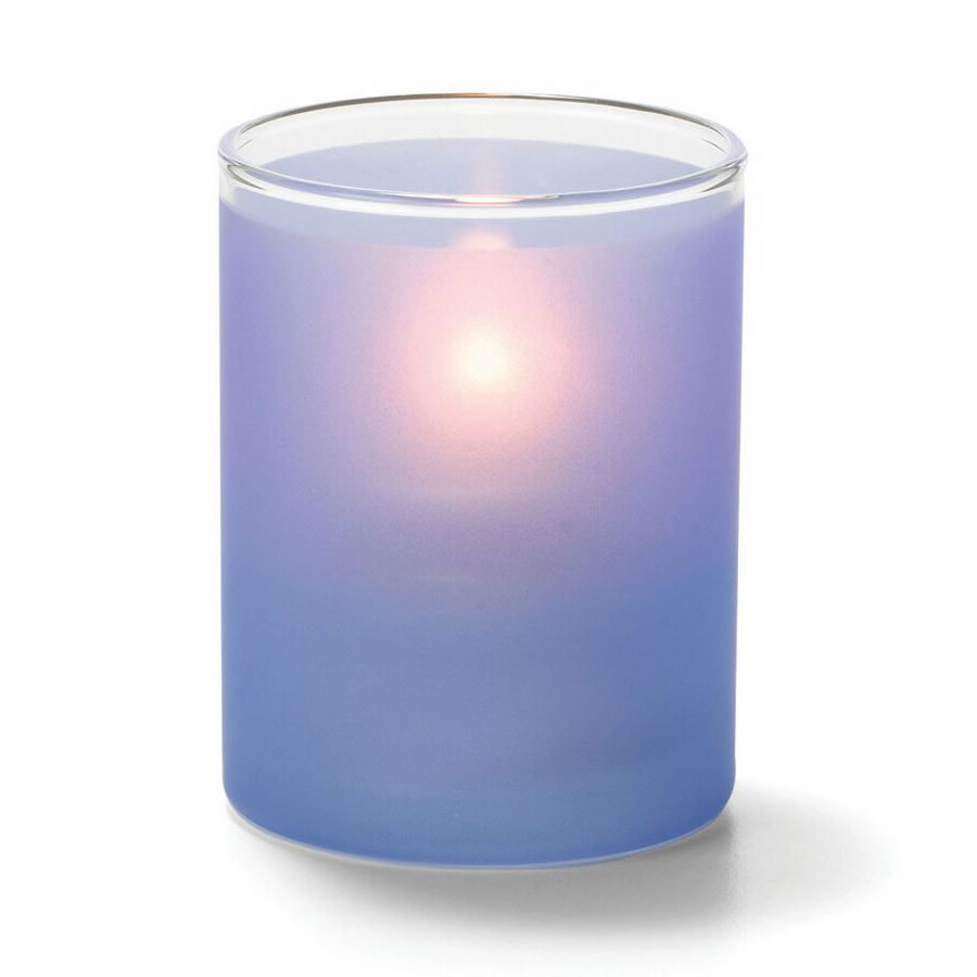 "Hollowick 5176SDB Tealight Lamp w/ Cylinder Style, 2.5x2"", Glass, Satin Dark Blue"