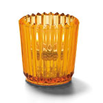 "Hollowick 5228A Ribbed Tealight Lamp, 2.5x2.5"", Glass, Amber"