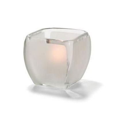 "Hollowick 6105F Square Votive Lamp - 3.5"" x 3.25"", Satin Glass"
