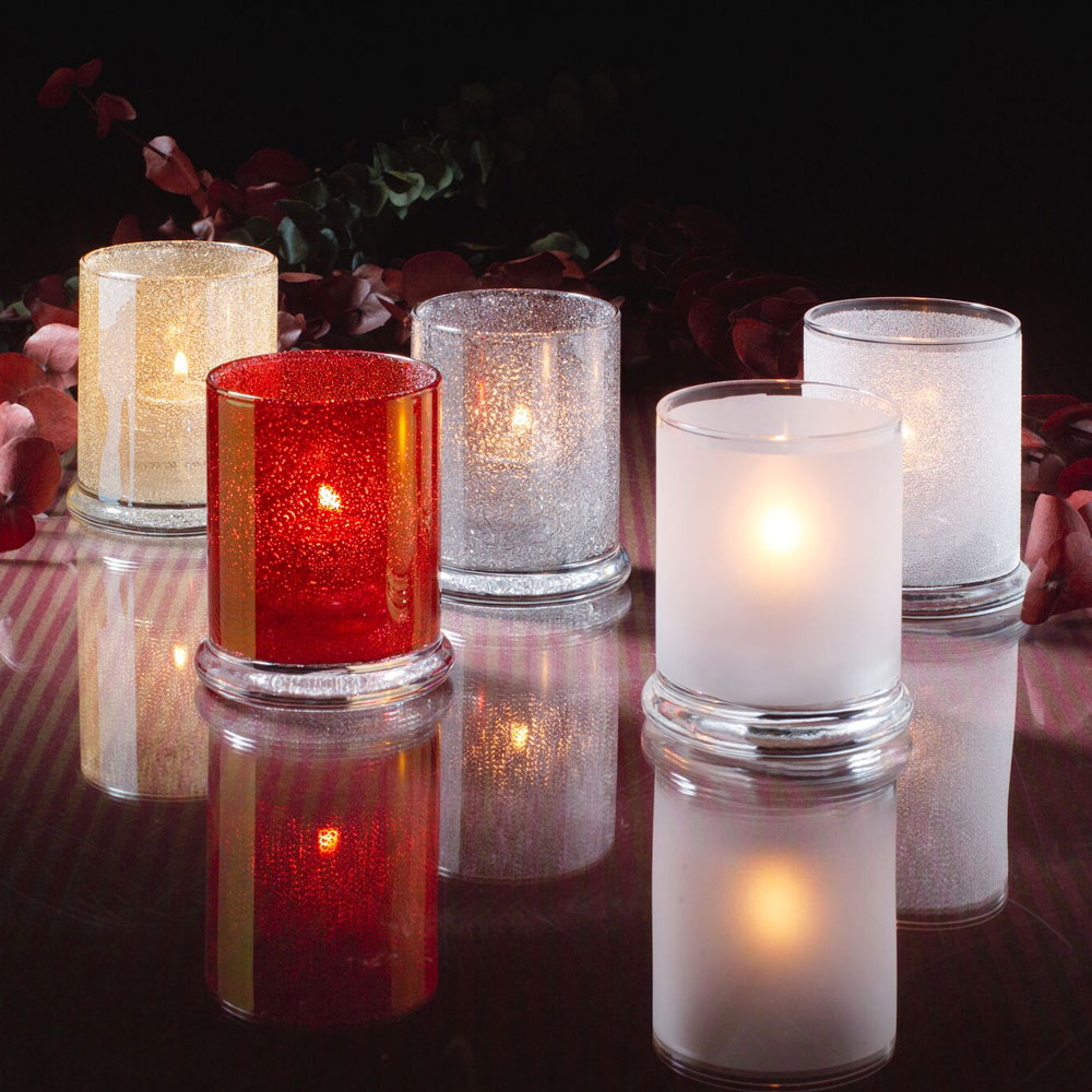 """Hollowick 6147SC Votive Lamp w/ Cylinder Style for HD15, HD12 & HD8, 3.63x3"""", Glass, Satin Crystal"""