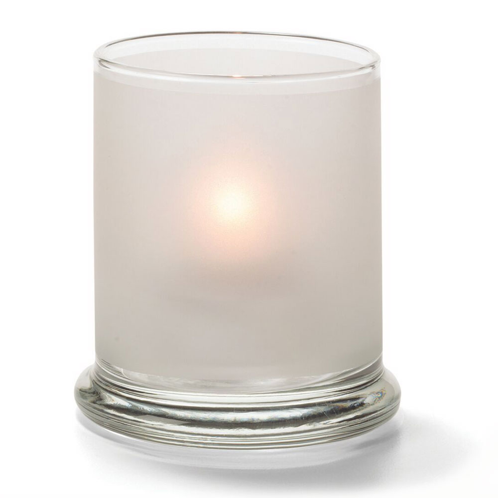 "Hollowick 6147SC Votive Lamp w/ Cylinder Style for HD15, HD12 & HD8, 3.63x3"", Glass, Satin Crystal"