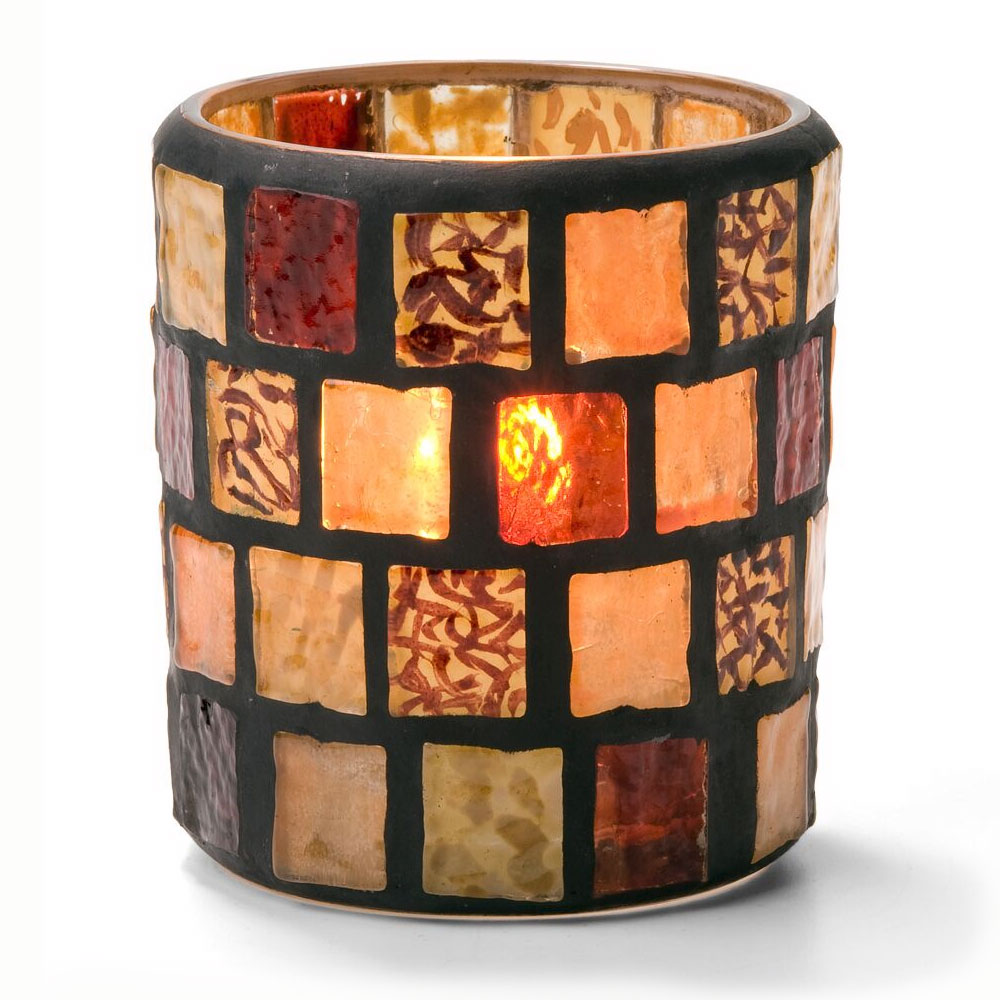 Hollowick 6201A Mosaic Votive Lamp For HD8, HD12 Or HD15, Amber