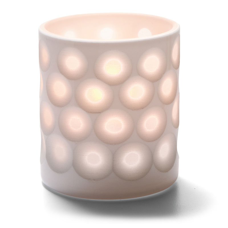 "Hollowick 6207D Boutique Votive Holder for HD8, HD12, & HD15 - 3.13"" x 2.87"", White Dots"