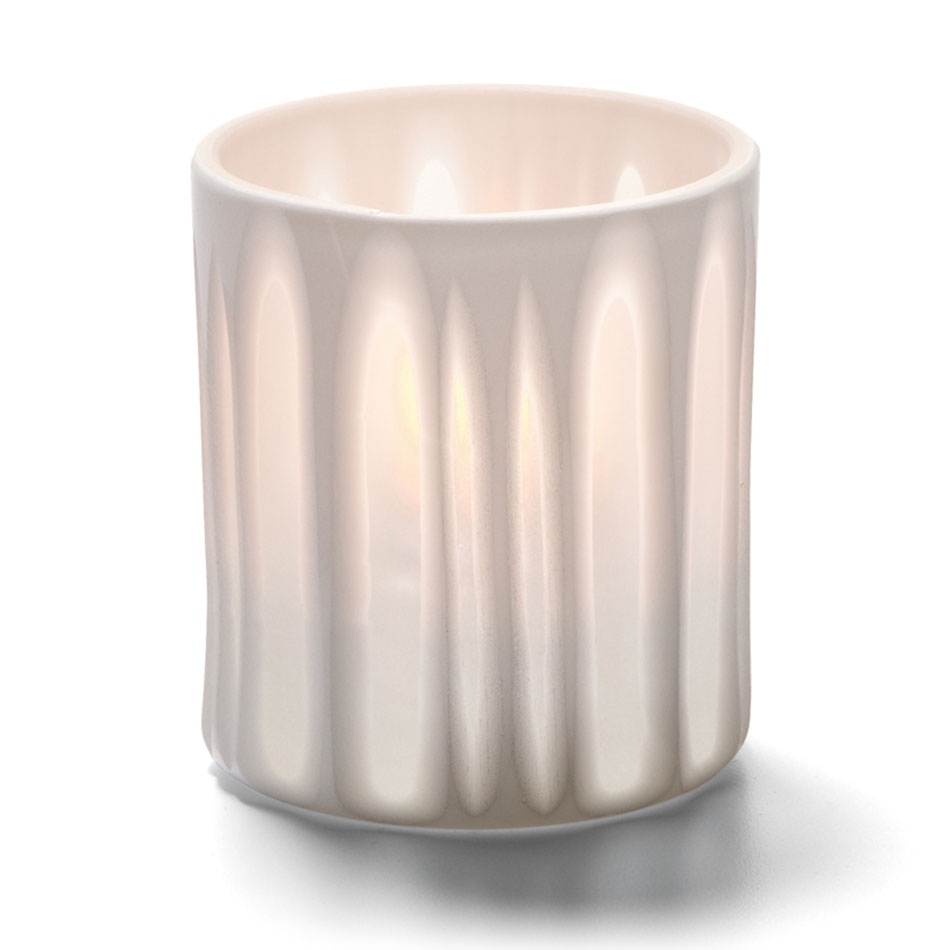 "Hollowick 6207ST Boutique Votive Holder for HD8, HD12, & HD15 - 3.13"" x 2.87"", White Stripes"