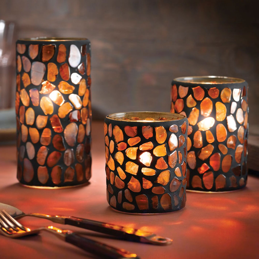 "Hollowick 6256A Pebble Votive, 3.38x3"", Glass, Amber Mosaic"