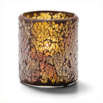 Hollowick 6301G Crackle Votive Lamp For HD8, HD12 Or HD15, Gold Glass