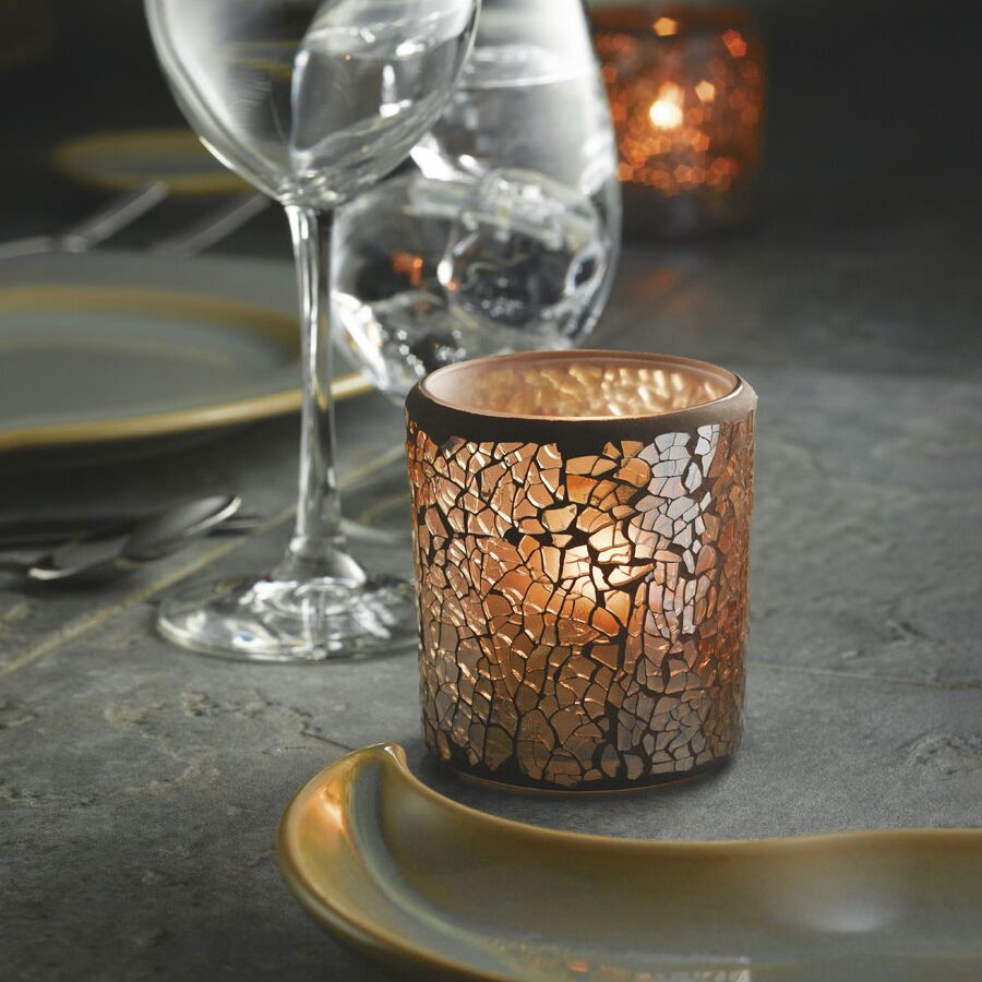Hollowick 6351G Crackle Votive Lamp For HD8, HD12 Or HD15, Gold Frosted Glass