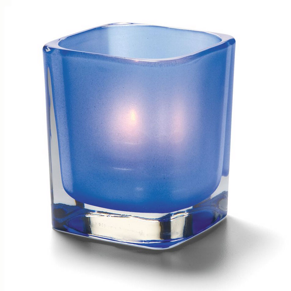 "Hollowick 6505SDB Tetra Votive for HD8, HD12 & HD15, 3.5x3"", Satin Dark Blue"