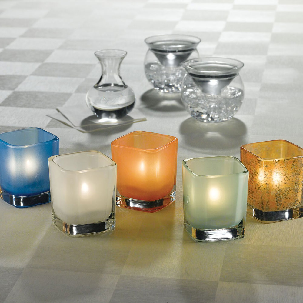 "Hollowick 6505SSG Tetra Votive for HD8, HD12 & HD15, 3.5x3"", Satin Seafoam"