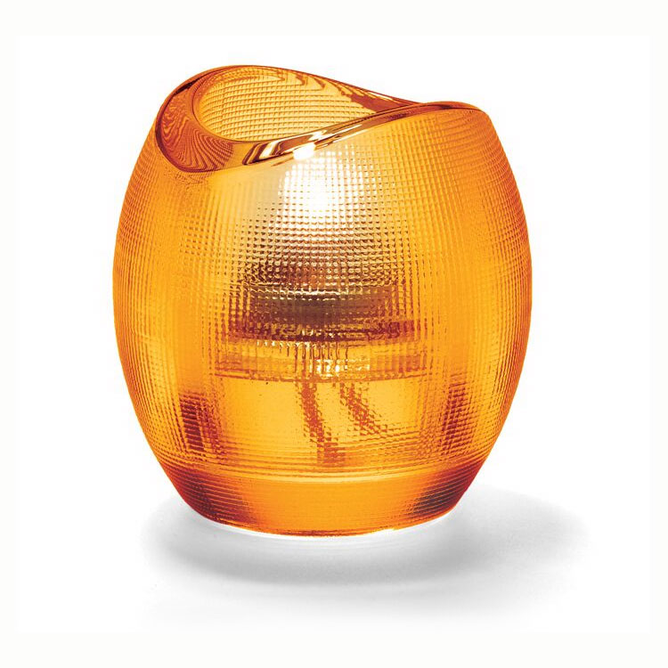 Hollowick 6701A Pixel Tealight Holder w/ Mesh Textured Exterior, 3x2.88-in, Glass, Amber