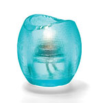 "Hollowick 6701AQ Pixel Tealight Holder w/ Mesh Texture, 3x2.88"", Glass, Aqua"