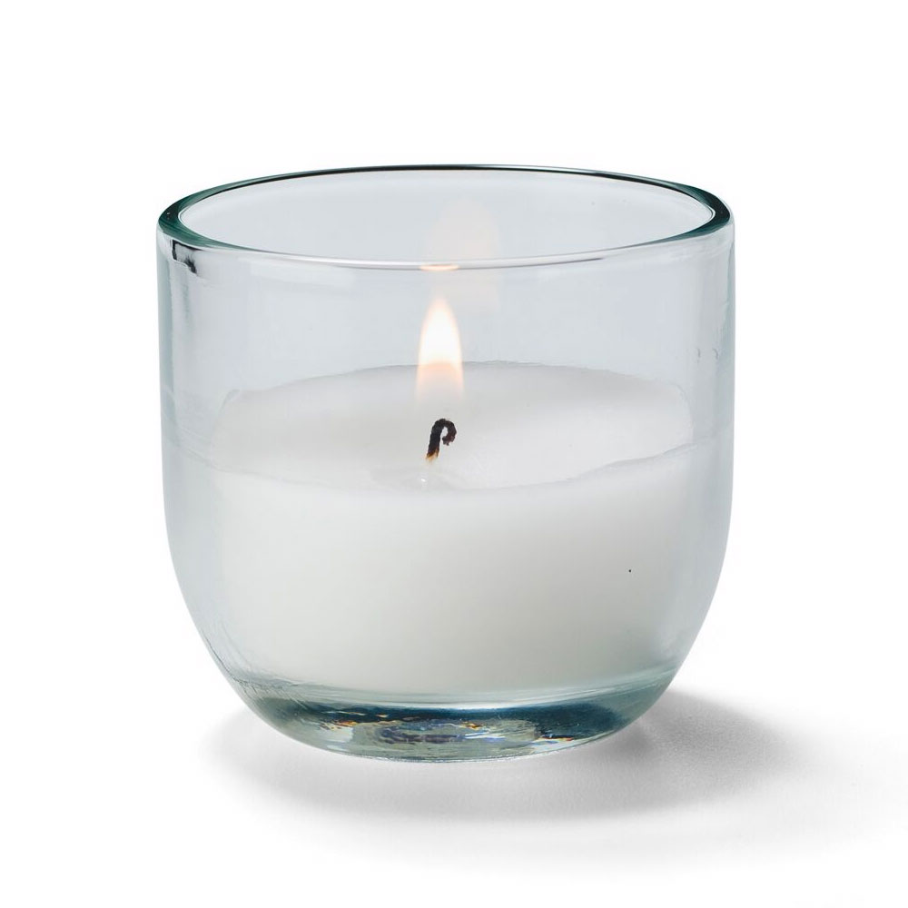 Hollowick CL830-48 CaterLites Disposable Candle w/ 8-Hour Burn Time, Clear Glass