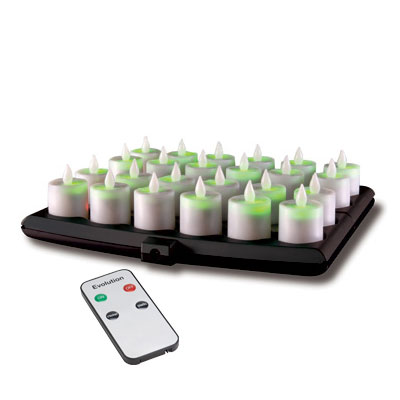 Hollowick EVOX/RC24-CL 24-Flameless Candles w/ Remote Control, 2-Charging Trays & Power Adaptor