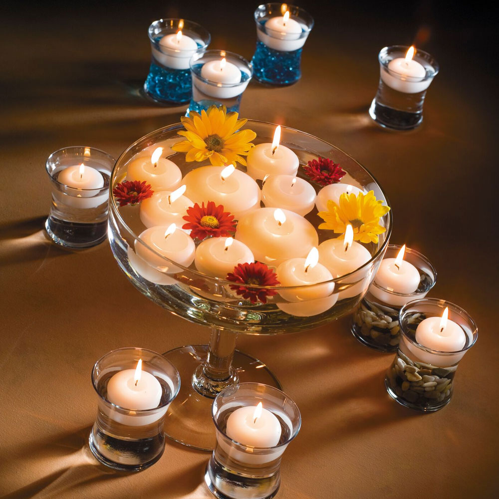 """Hollowick FC3W-72 Floating Candle, 3x1.19"""", Wax, White"""