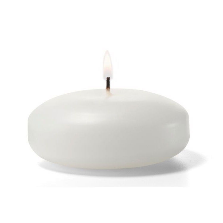 "Hollowick FC3W-72 Floating Candle, 3x1.19"", Wax, White"