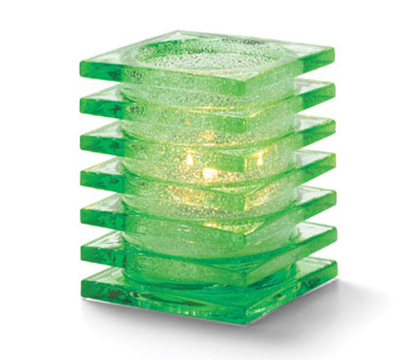 Hollowick 1501LGRJ Square Stacked Lamp For HD12, HD17, HD26, 2.88x3.75-in, Glass, Lime Green Jewel