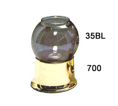 Hollowick 35BL Fitter Globe w/ Bubble Style For 3-in Fitter Bases, 4x7.25x3-in, Glass, Blue Lustre