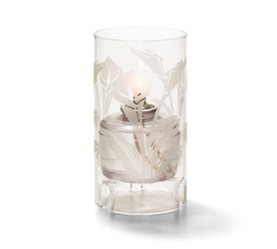 Hollowick 48000C-LIL Cylinder Lamp For HD36, 5.5x3-in, Glass, Clear/Lily