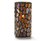 Hollowick 46318A Pebble Cylinder, 6x3-in, Glass, Amber Mosaic