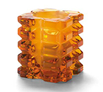 Hollowick 5151ASL Faceted Votive Lamp w/ Cube Style, 3x3.25-in, Glass, Amber Satin Linen