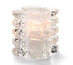 Hollowick 5151CSL Faceted Votive Lamp w/ Cube Style, 3x3.25-in, Glass, Clear Satin Linen