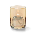 Hollowick 5176G Tealight Lamp w/ Cylinder Style, 2.5x2-in, Glass, Gold Lustre