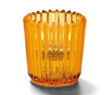 Hollowick 5228A Ribbed Tealight Lamp, 2.5x2.5-in, Glass, Amber