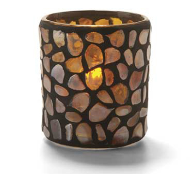 Hollowick 6256A Pebble Votive, 3.38x3-in, Glass, Amber Mosaic