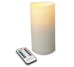 Hollowick OP37ITR 4-Flameless Outdoor Pillars w/ Remote, LED & Dual Timer, 7x3-in