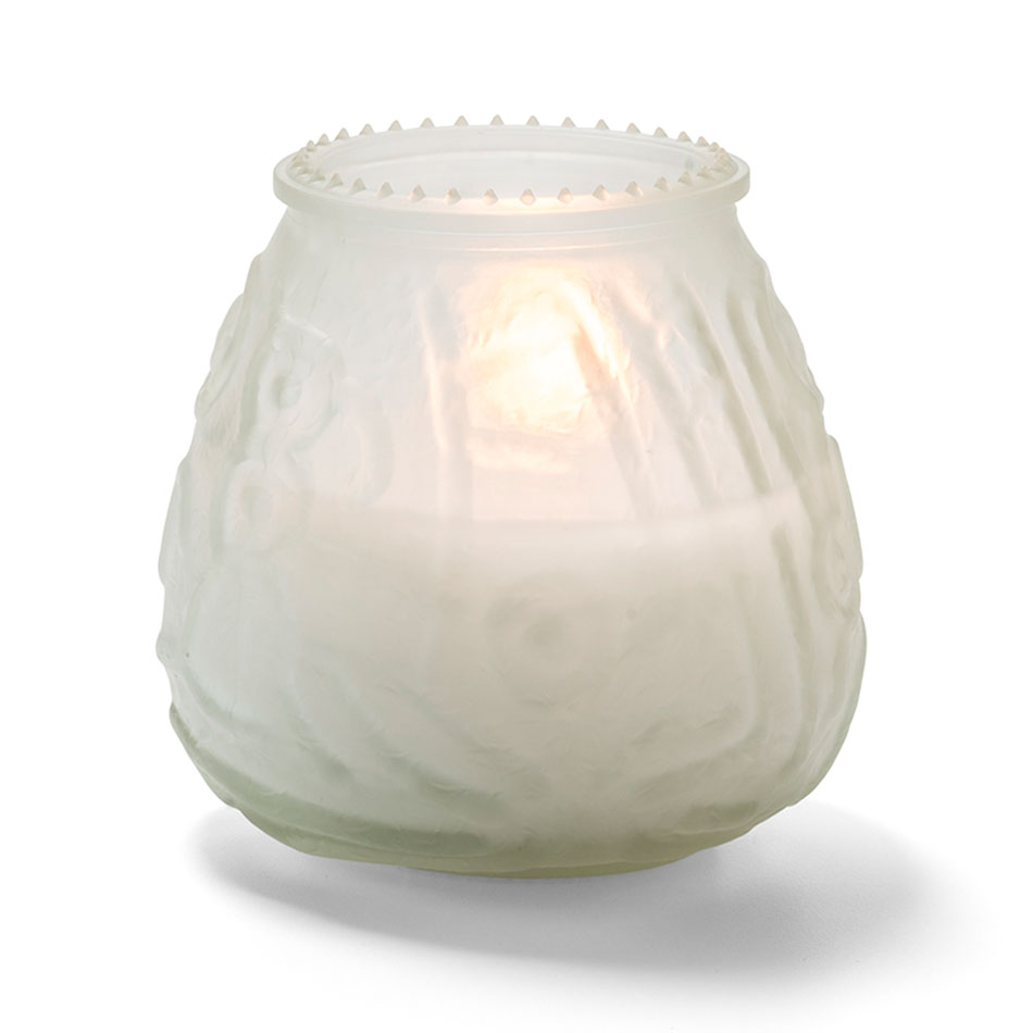 """Hollowick KG60F-12 60-hr Knobby Wax Candle - 3.75"""" x 3.75"""", Frosted"""