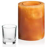 "Hollowick L5M Luminaires Pillar Candle Holder for HD8, HD12, & HD15 - 4"" x 5"", Amber"