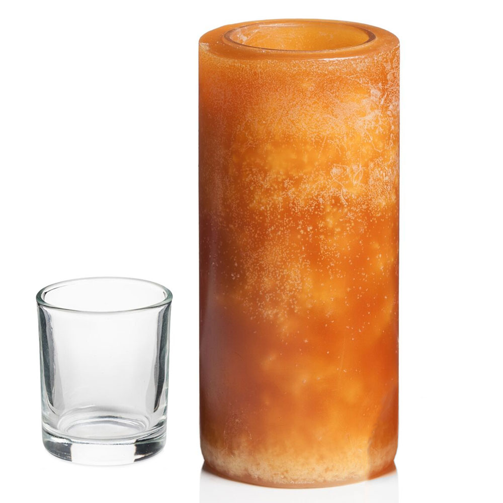 "Hollowick L6M Luminaires Pillar Candle Holder for HD8 - 3"" x 6"", Amber"