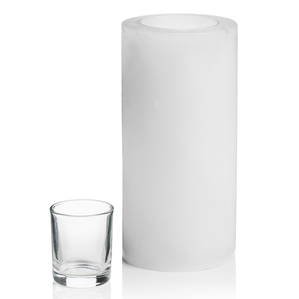 """Hollowick L8W Luminaires Pillar Candle Holder for HD8, HD12, & HD15 - 4"""" x 8"""", White"""