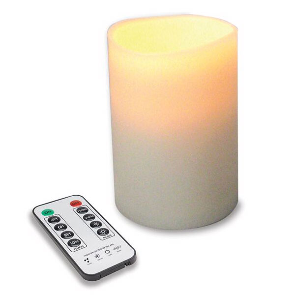 Hollowick OP35ITR 4-Flameless Outdoor Pillars w/ Remote, LED & Dual Timer, Ivory