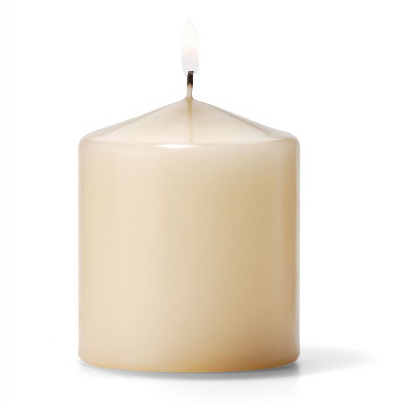 "Hollowick P3X3I-12 Pillar Candle, 3x3"", Wax, Ivory"
