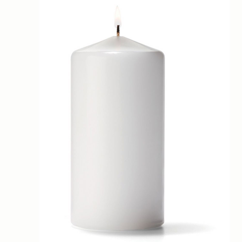 "Hollowick P3X6W-12 Pillar Candle, 6x3"", Wax, White"