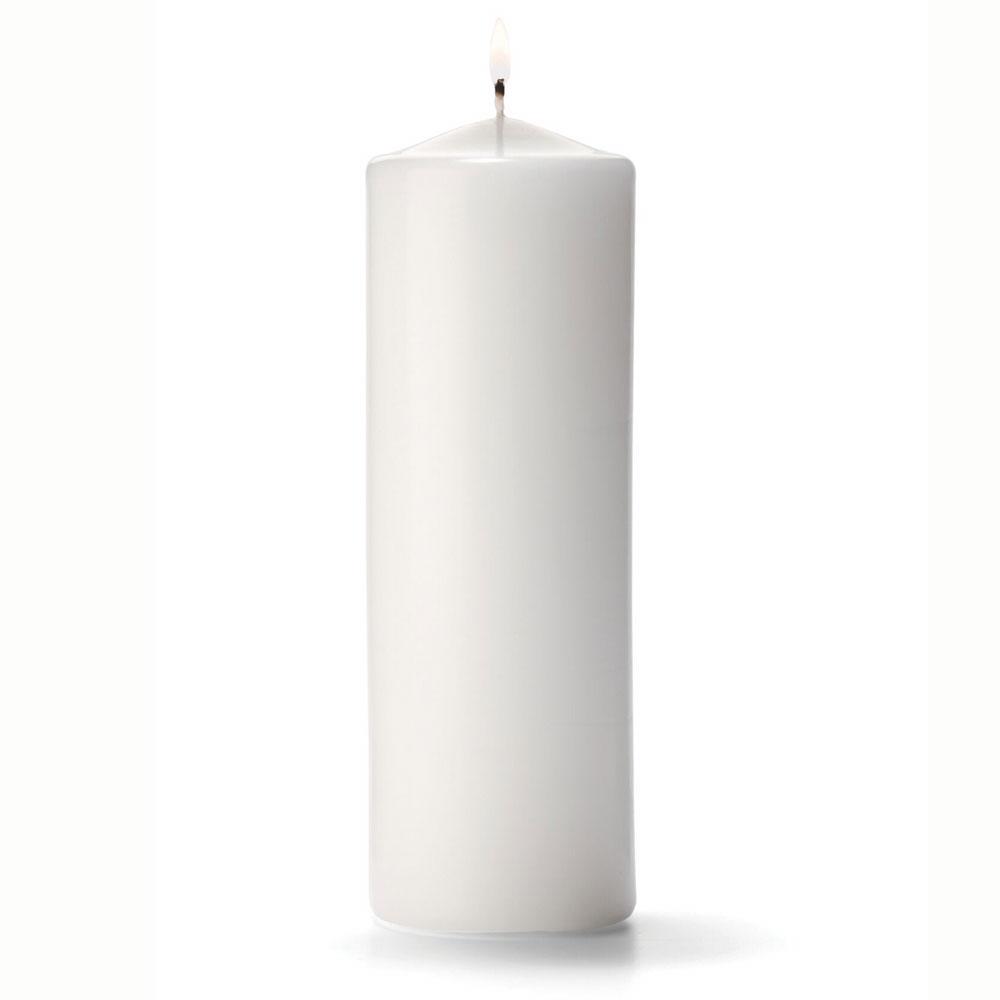 "Hollowick P3X9W-12 Pillar Candle, 9x3"", Wax, White"