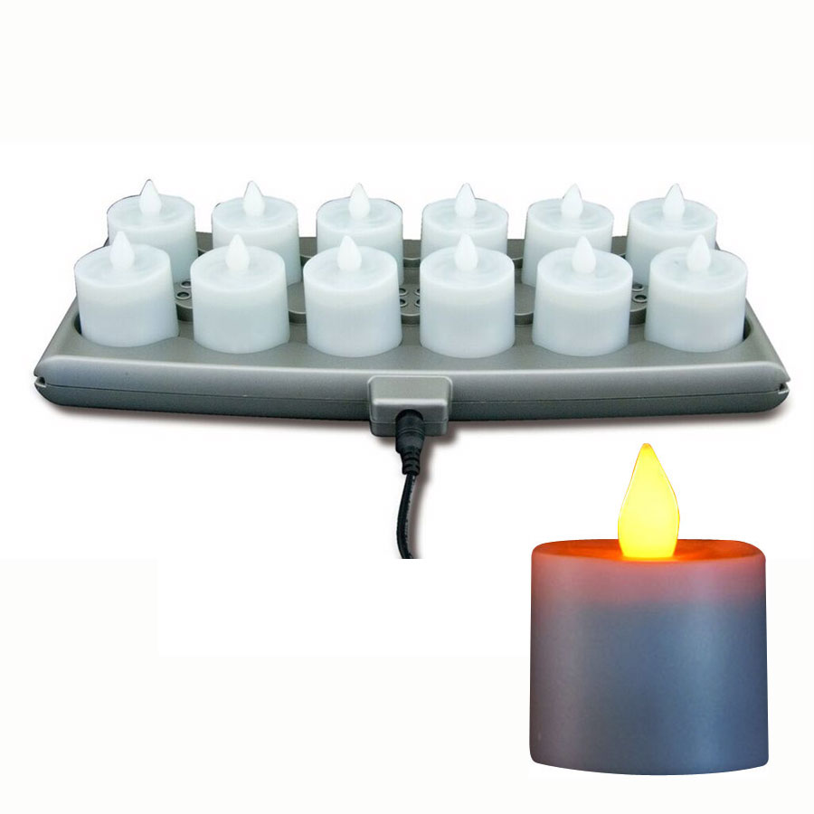 Hollowick SCRP12-A Platinum Flameless Candle Set w/ 12-Amber Candle & 1-Charging Tray