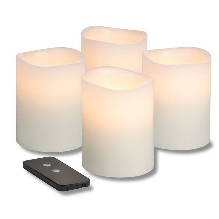 Hollowick WP34ITR TruFlame LED Pillar Candle w/ Remote & 3-Stage Timer, 4-in High