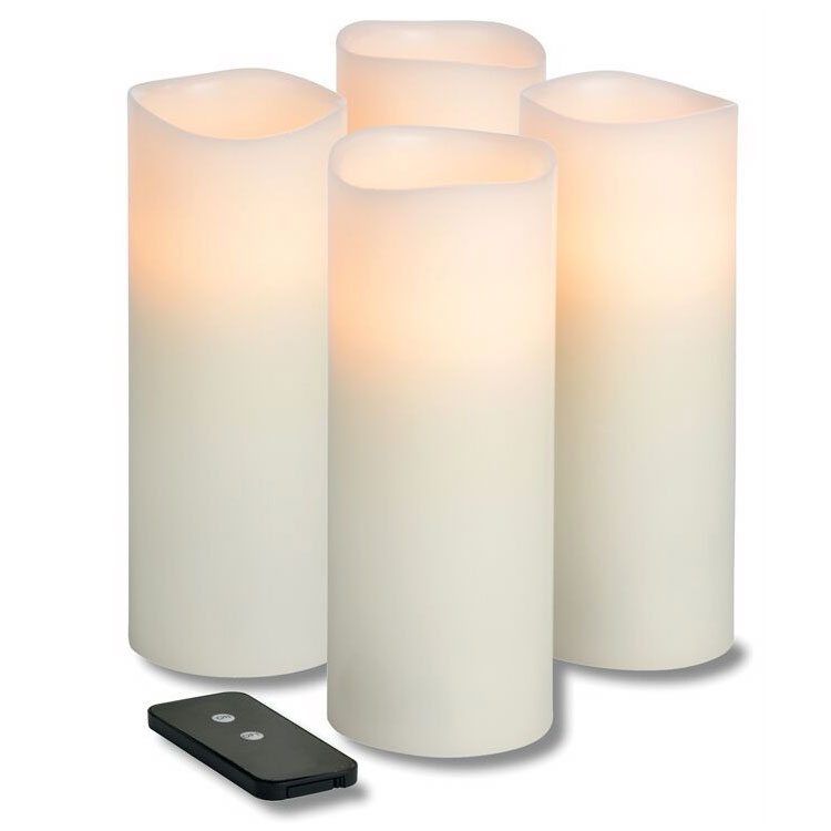Hollowick WP38ITR TruFlame LED Pillar Candle w/ Remote & 3-Stage Timer, 8-in High