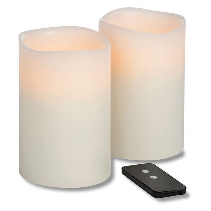 "Hollowick WP46ITR TruFlame LED Pillar Candle w/ Remote, 4"" Diameter, 6"" High"