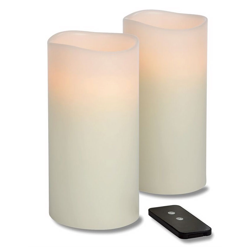 "Hollowick WP48ITR TruFlame LED Pillar Candle w/ Remote, 4"" Diameter, 8"" High"
