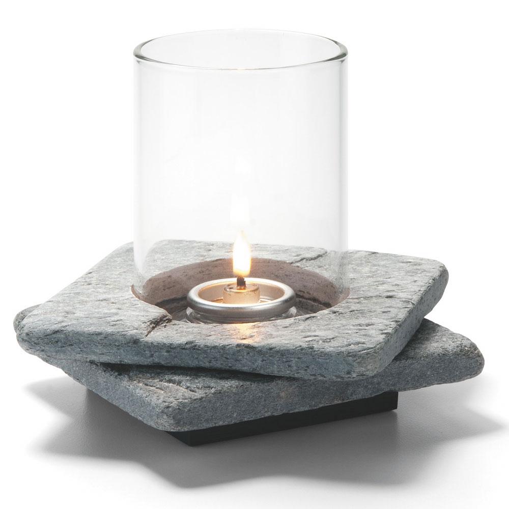 """Hollowick ZEN-GSL2 Double Zen Lamp Base for 78C & 78SC, 5.5x1.25"""", Stone, Grey Slate"""