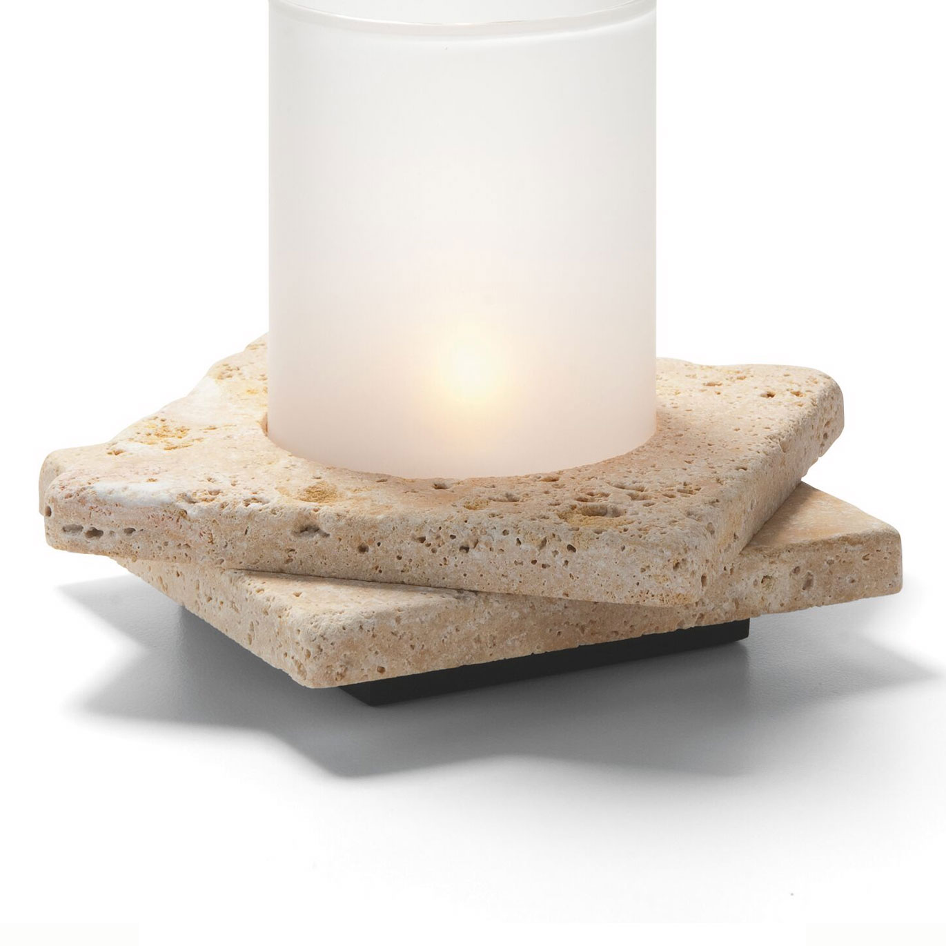 "Hollowick ZEN-GTR2 Double Zen Lamp Base for 78C & 78SC, 5.5x1.25"", Stone, Gold Travertine"