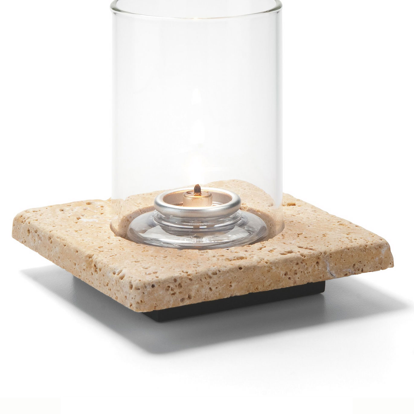 Hollowick ZEN-GTR Square Lamp Base, Single, Stone, Gold Travertine, 4x4.88""